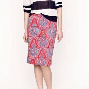 J Crew Raj Paisley Pencil Skirt